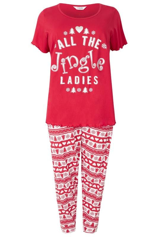 Plus Size Christmas Pajamas.Red Christmas All The Jingle Ladies Pyjama Set Plus Size