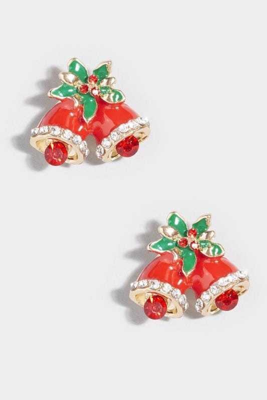 Plus Size Jewelry Red Christmas Bell Earrings