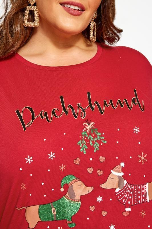 Red Christmas Dachshund Slogan T-Shirt