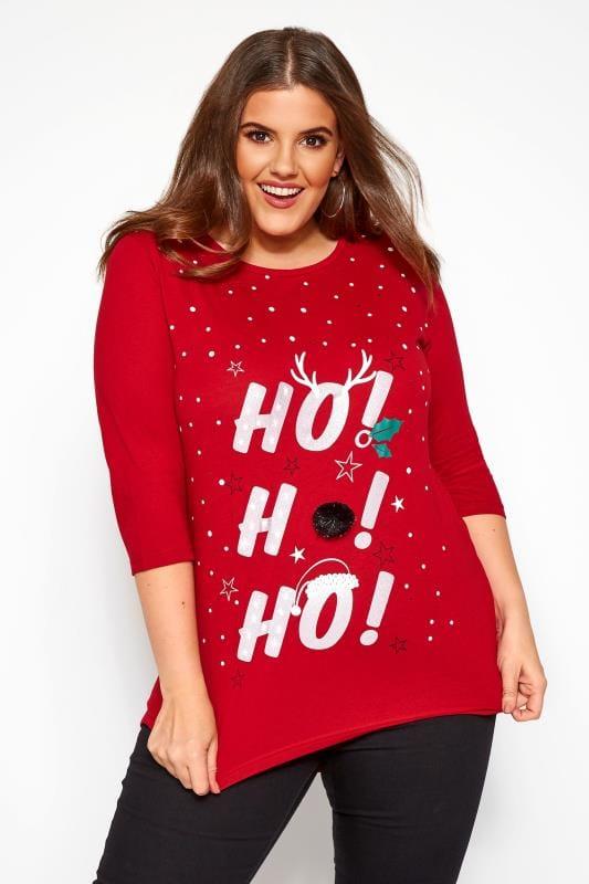 Plus Size Slogan T-Shirts Red Christmas 'Ho, Ho, Ho' Slogan T-Shirt