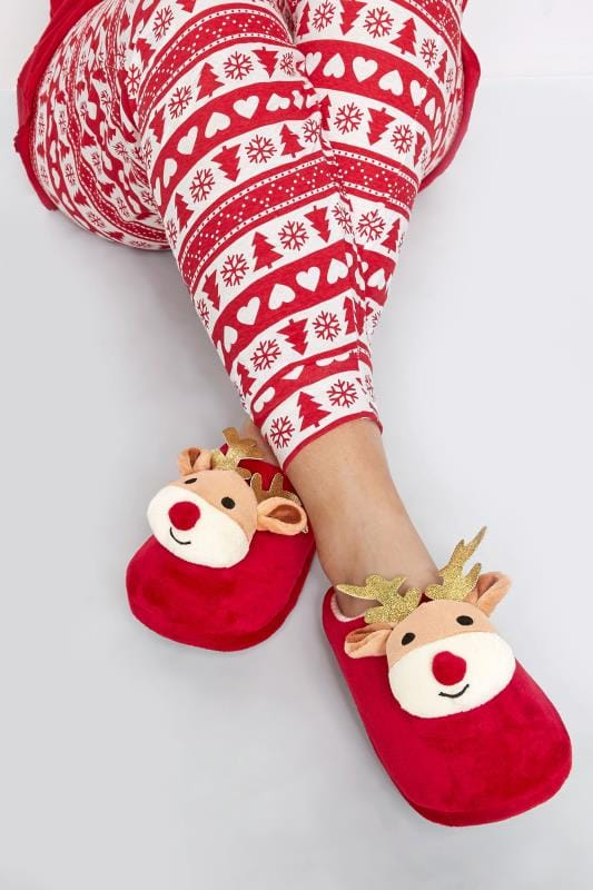 Wide Fit Slippers Red Christmas Reindeer Slippers In Wide Fit