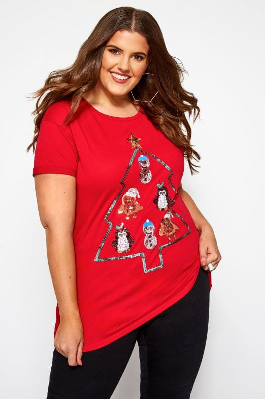 Plus Size Jersey Tops Red Christmas Sequin Characters T-Shirt