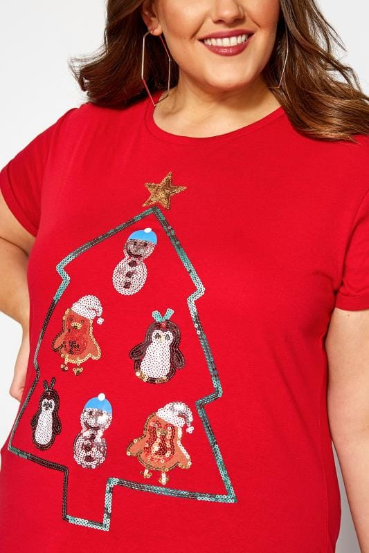 Red Christmas Sequin Characters T-Shirt