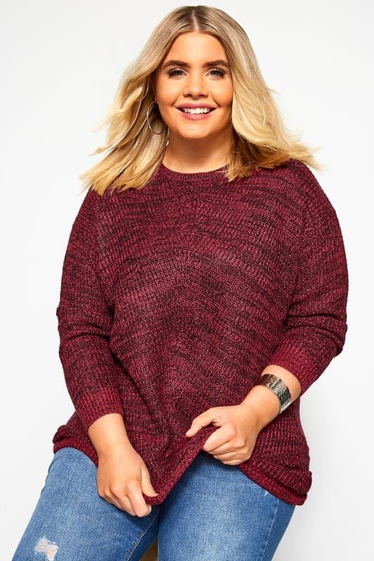 Plus Size Jumpers Red Chunky Knitted Jumper