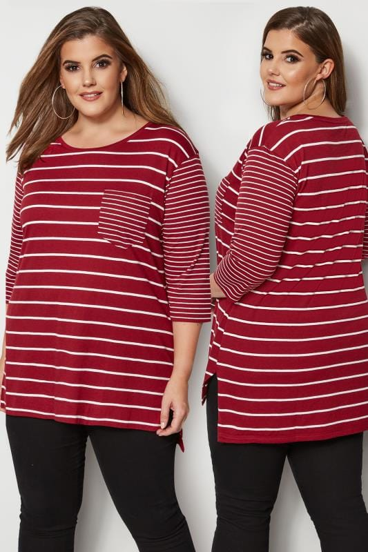 Red Contrast Stripe Pocket T-Shirt