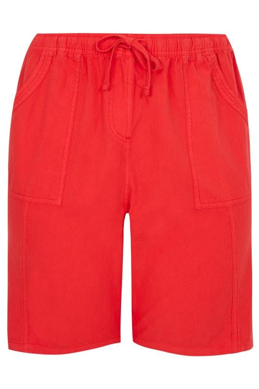 Red Cool Cotton Pull On Shorts
