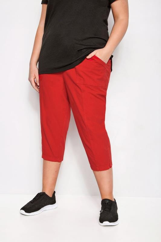 Plus Size Cropped Trousers Red Cotton Cropped Trousers