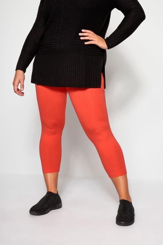 Plus Size Cropped & Short Leggings Red Cropped Leggings