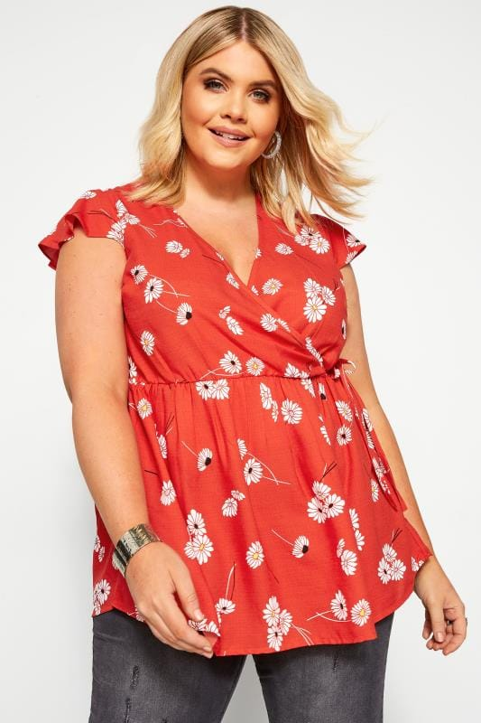 Plus Size Day Tops Red Daisy Frill Wrap Top