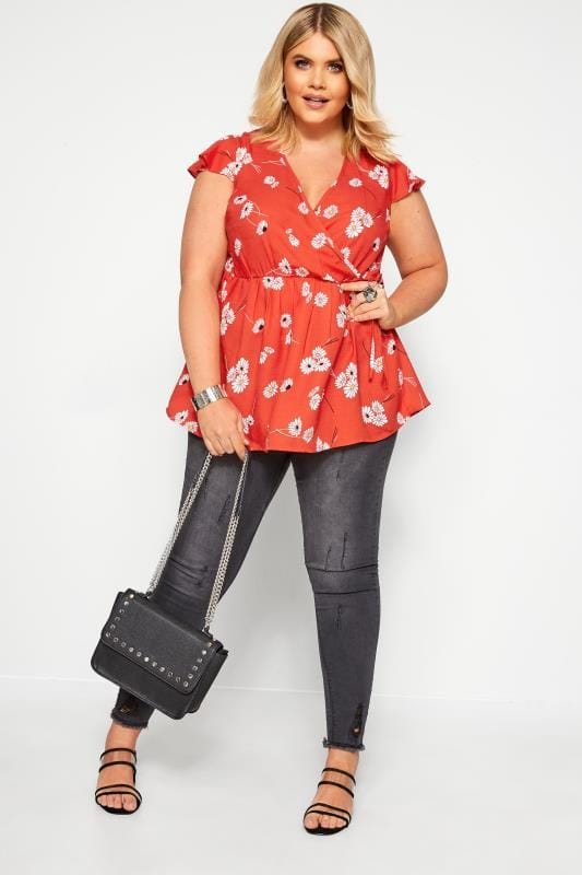 Plus Size Beauty Red Daisy Frill Wrap Top