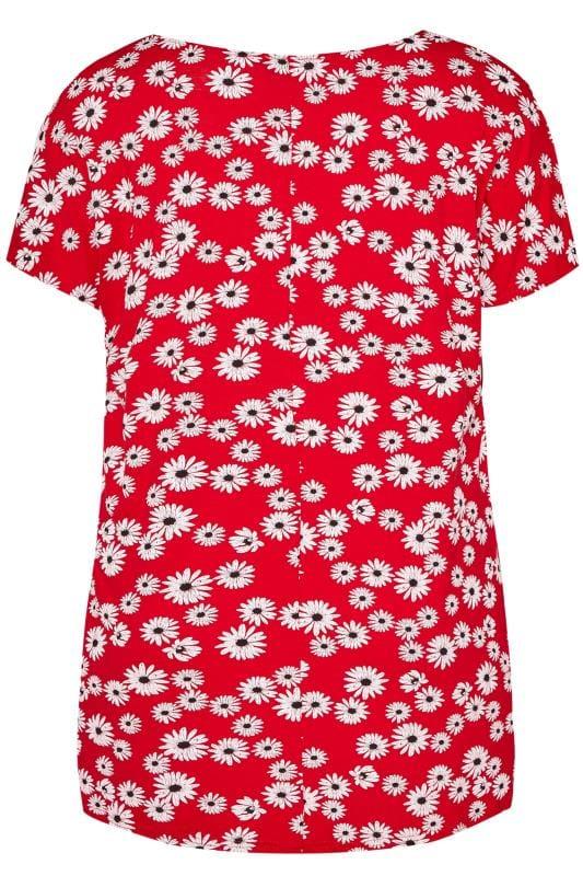 Red Daisy Print Dipped Hem T-Shirt