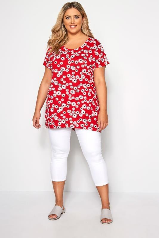 T-Shirt mit Blumen-Druck - Rot