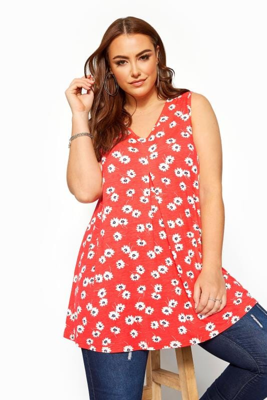 Plus Size Vests & Camis Red Daisy Swing Vest Top
