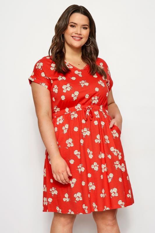 Red Daisy T-Shirt Dress
