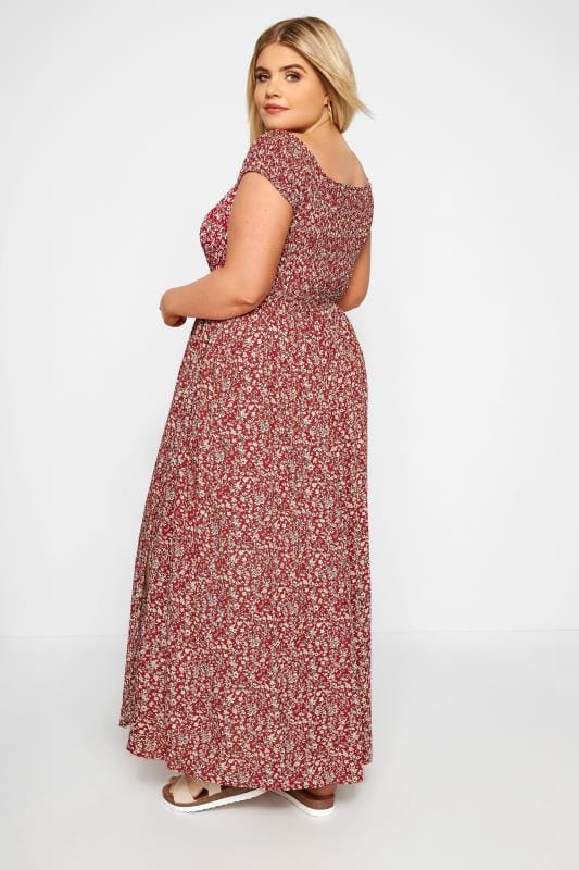 Red Ditsy Floral Maxi Dress