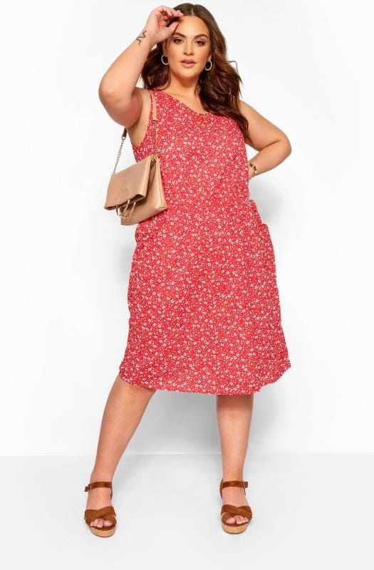 Plus Size Casual Dresses Red Ditsy Floral Pocket Skater Dress