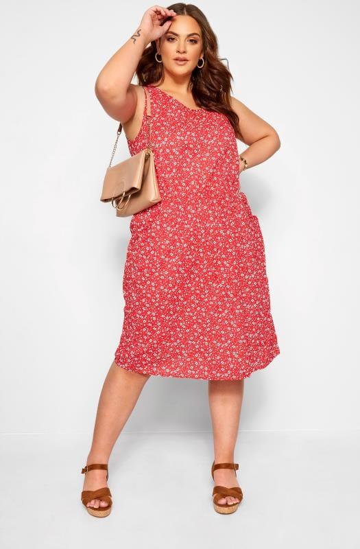 Plus Size Casual Dresses Red Ditsy Floral Pocket Skater Dress