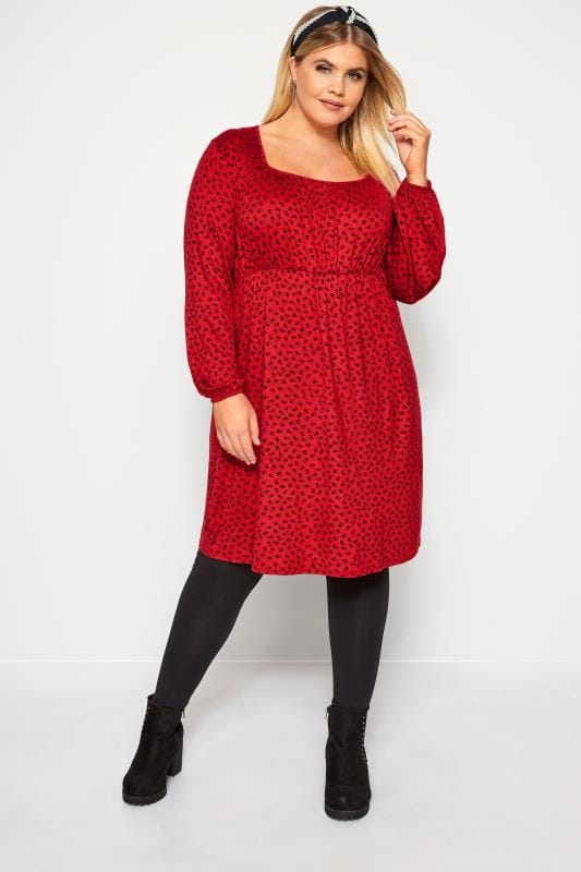 Red Ditsy Floral Print Milkmaid Dress