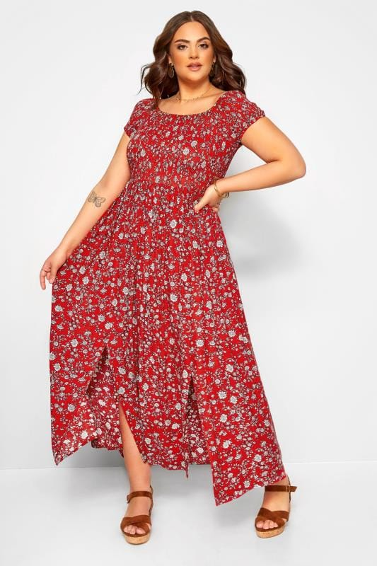 Plus Size Maxi Dresses Red Ditsy Floral Shirred Bardot Maxi Dress