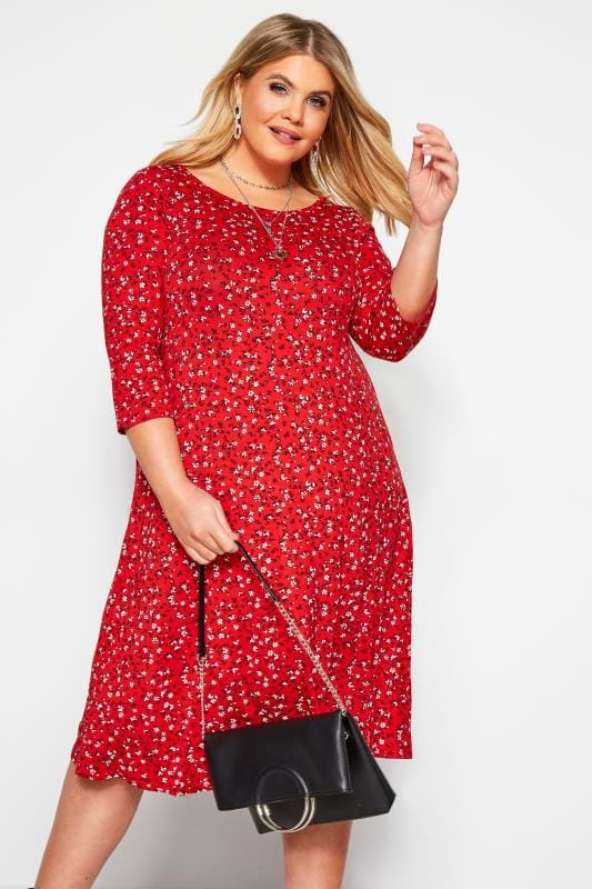 Plus Size Floral Dresses Red Ditsy Floral Swing Dress