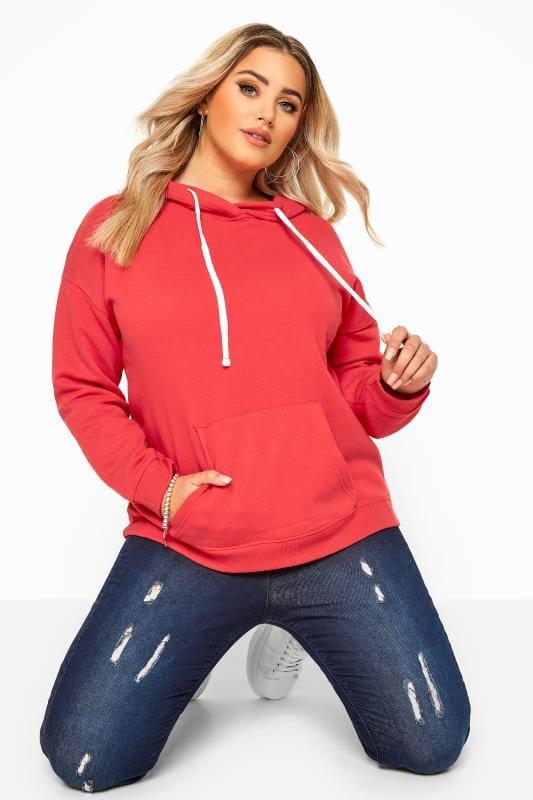 Hoodie van jersey met capuchon in rood