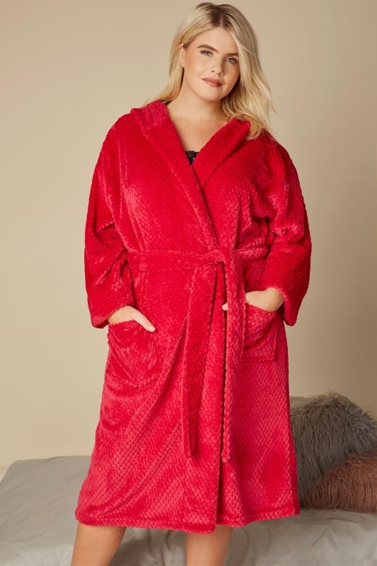 Red Fleece Hooded Dressing Gown