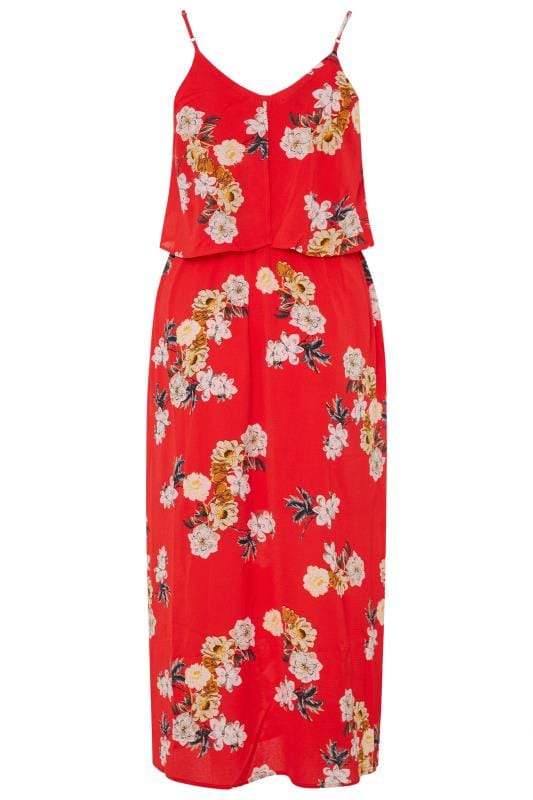 YOURS LONDON Red Floral Double Layer Maxi Dress