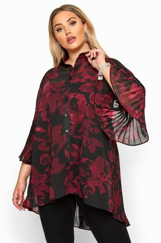 Plus Size Shirts YOURS LONDON Black & Red Floral Pleat Back Shirt