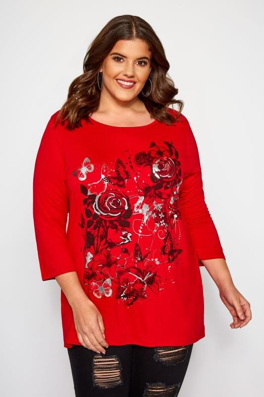 Plus Size Jersey Tops Red Floral Print Foil Top