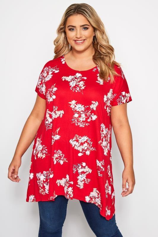 Jersey Tops Red Floral Print Hanky Hem T-Shirt