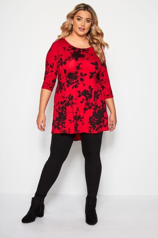 Red & Black Floral Peplum Top