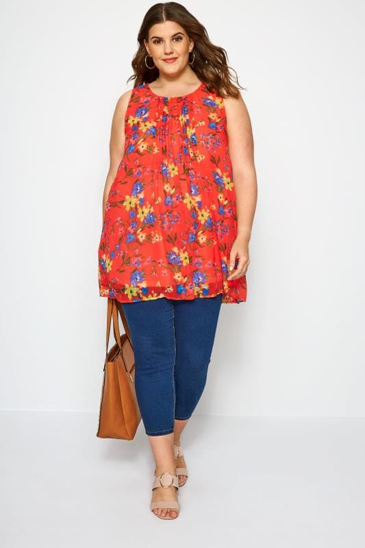 Red Floral Sleeveless Chiffon Vest Top
