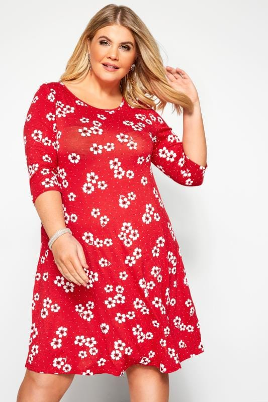 Plus Size Jersey Dresses Red Floral Spotted Swing Dress