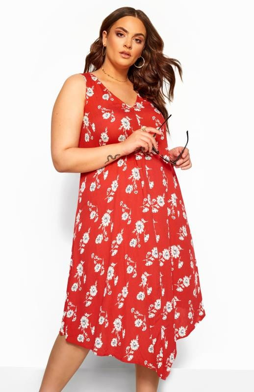 Plus Size Swing Dresses Red Floral Swing Dress