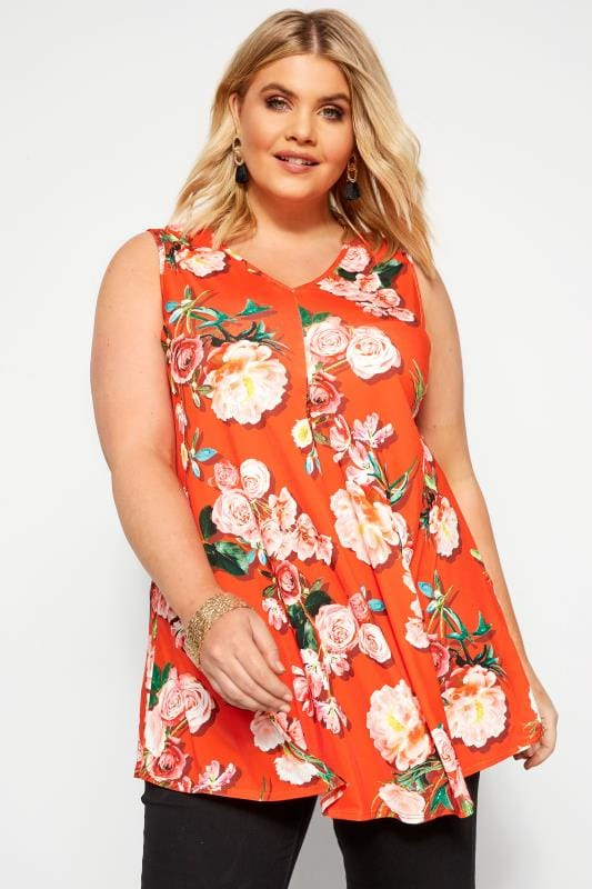 Plus Size Smart Jersey Tops Red Floral Swing Vest Top