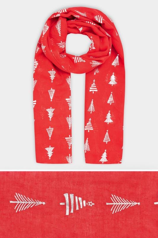Red Foil Christmas Tree Scarf