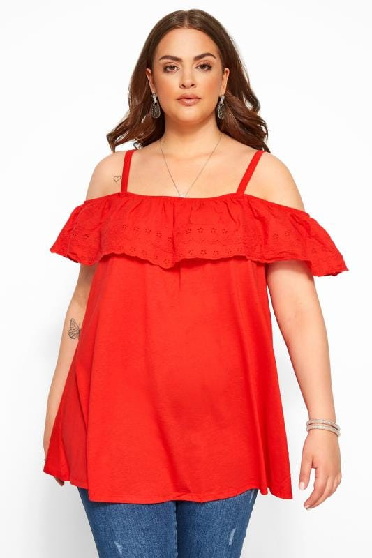 Plus Size Bardot & Cold Shoulder Tops Red Frill Broderie Anglaise Cold Shoulder Top
