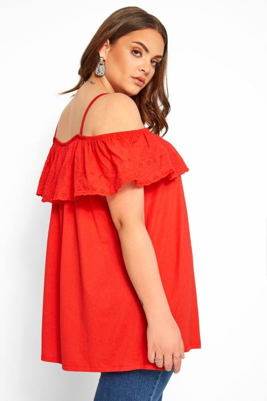 Red Frill Broderie Anglaise Cold Shoulder Top