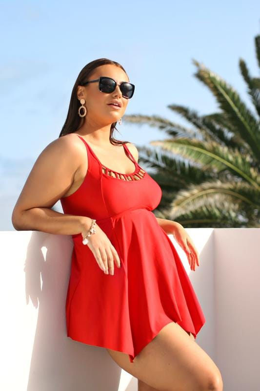 Plus Size Swim Dresses Red Gold Trim Neckline Swim Dress