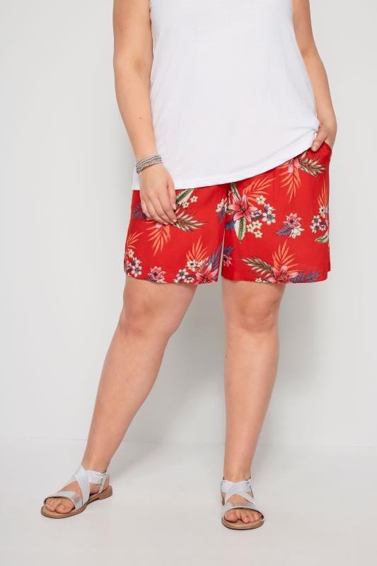 Plus Size Fashion Shorts Red Hawaiian Floral Shorts