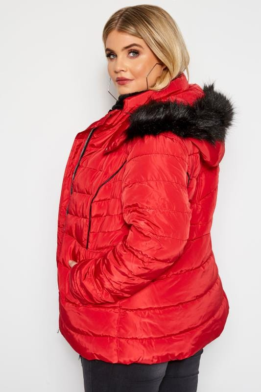 Red Hooded Panel Puffer Coat