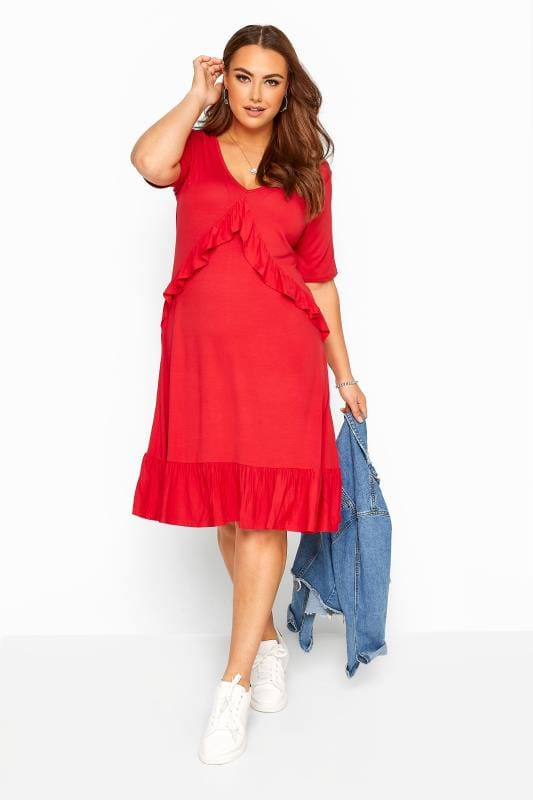 Red Jersey Frill Smock Dress