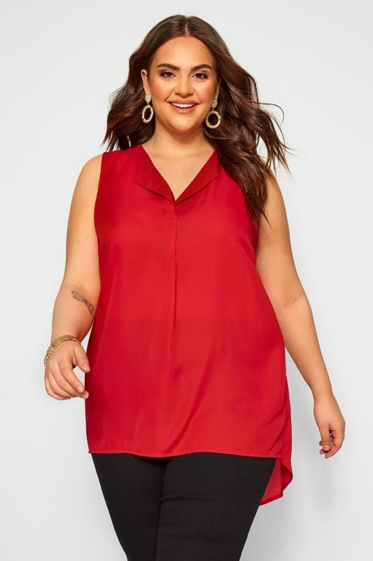 Plus-Größen Day Tops YOURS LONDON Red Lapel Shell Top