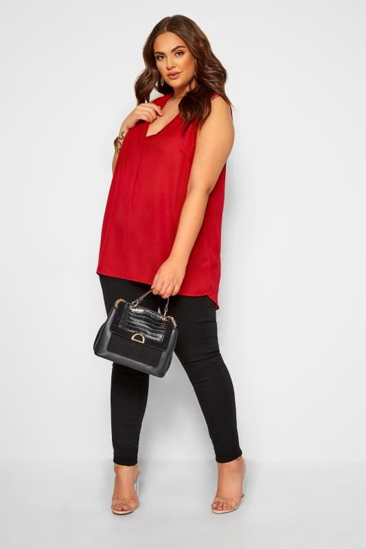 Plus Size Day Tops YOURS LONDON Red Lapel Shell Top