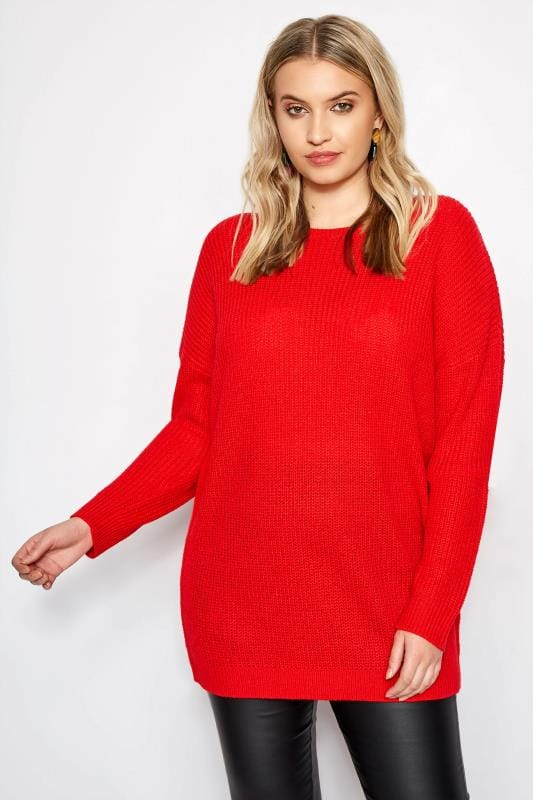 Red Lattice Back Knitted Jumper