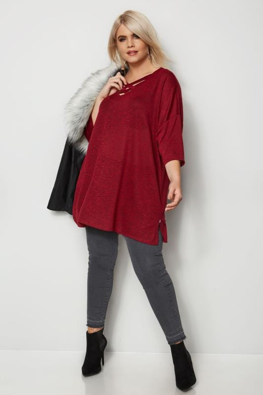Red Lattice Front Knitted Top
