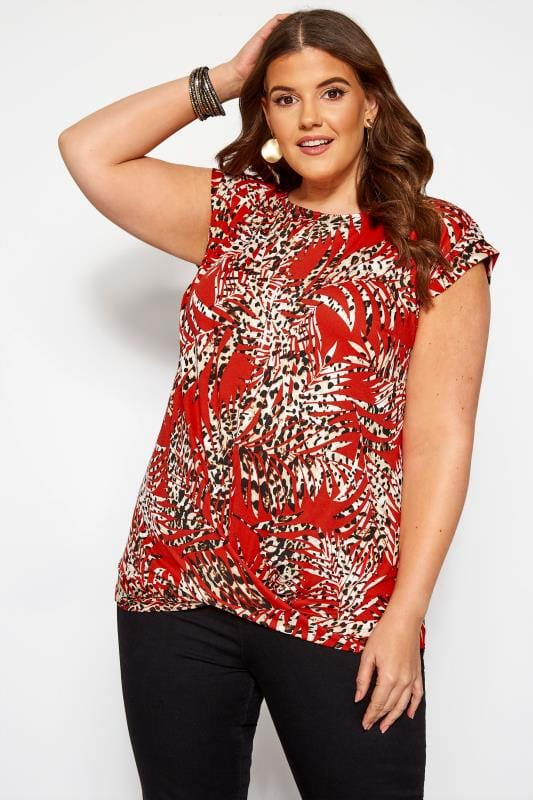 Plus Size Day Tops Red Leopard Leaf Print Top