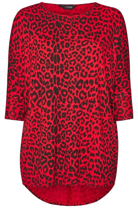 Red Leopard Print Extreme Dipped Hem Top