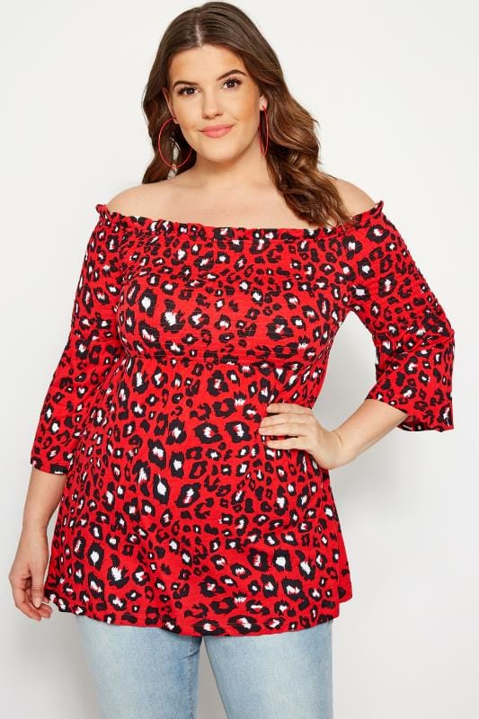 Plus Size Bardot & Cold Shoulder Tops Red Leopard Shirred Bardot Top