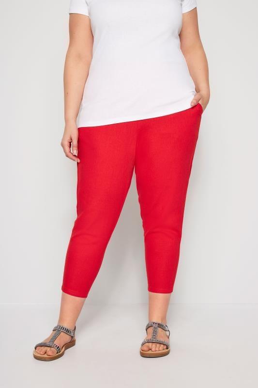 Rode driekwart linnen broek